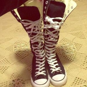 Knee high converse all stars with zip up back